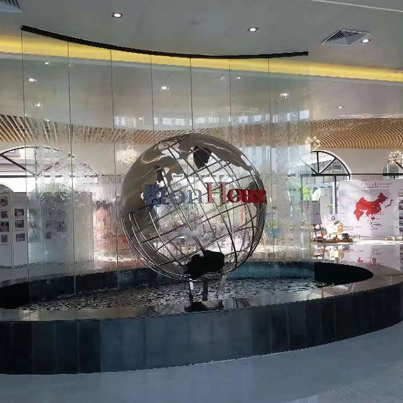 Outdoor Decor Peace Globe Stainless Steel Sculpture