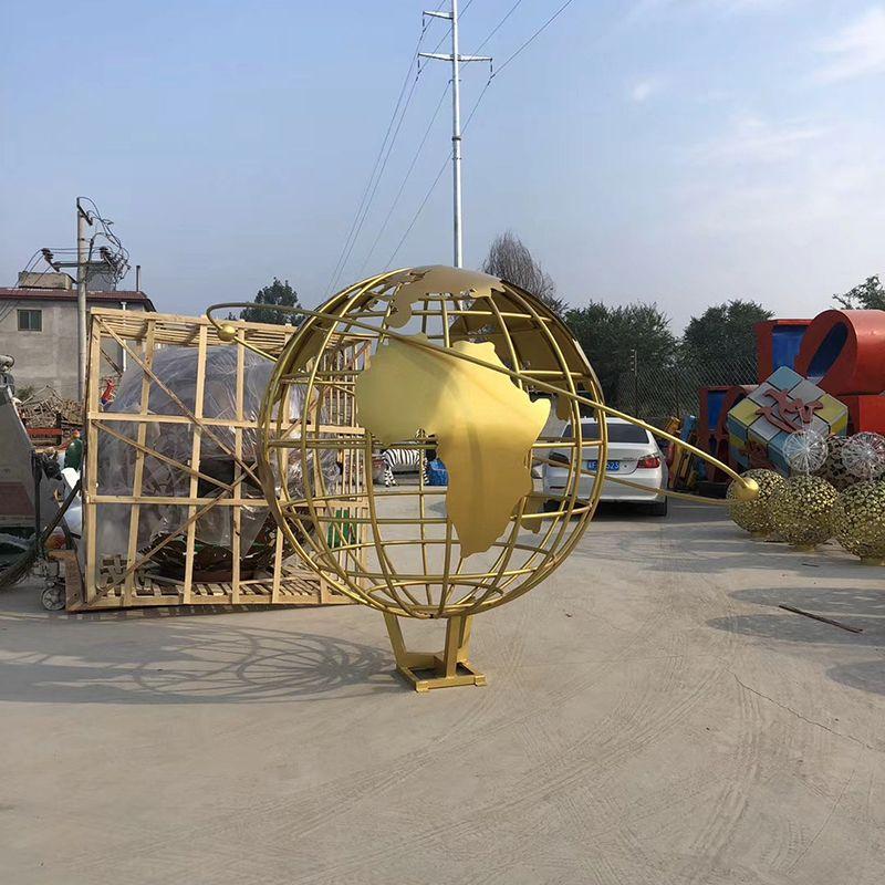 Custom outdoor decor large size metal art globe model stainless steel earth sculpture