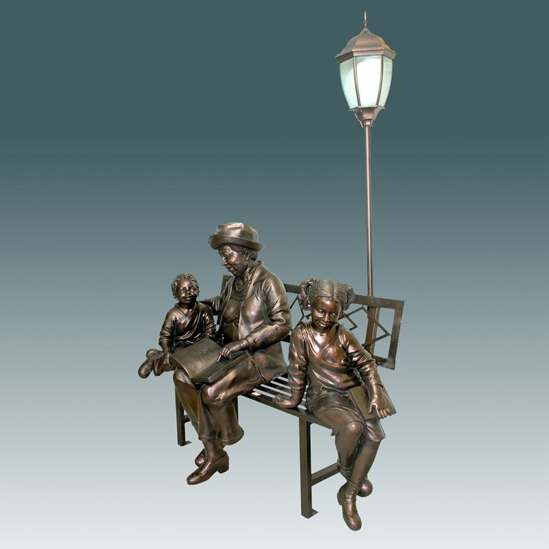 Outdoor large size cast bronze lady lamps sculpture