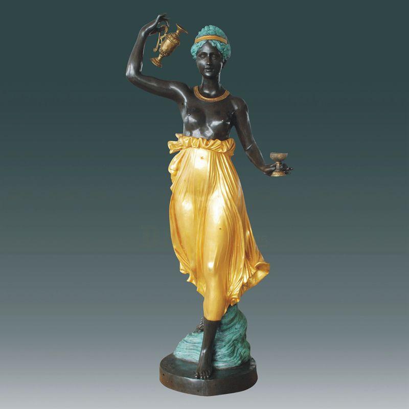 Bronze Statue Lamp Woman Bronze Torchiere Sculpture