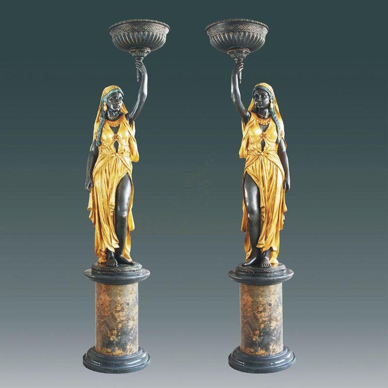 Antique Bronze Woman Statues Indoor Lamp Pillar Pair Copper Sculpture