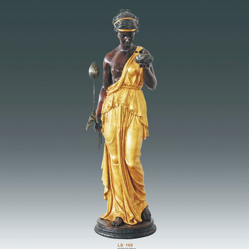 Beautiful Designs Bronze Lady Sculpture Lamps