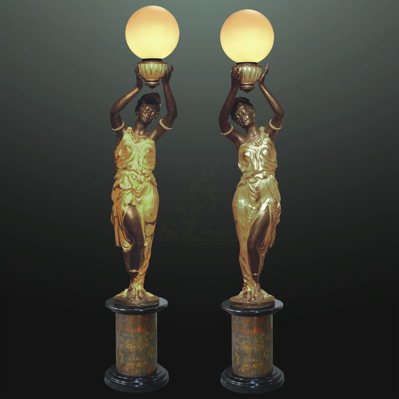 Outdoor Garden Life Size Bronze Lamp Sculpture Of Woman