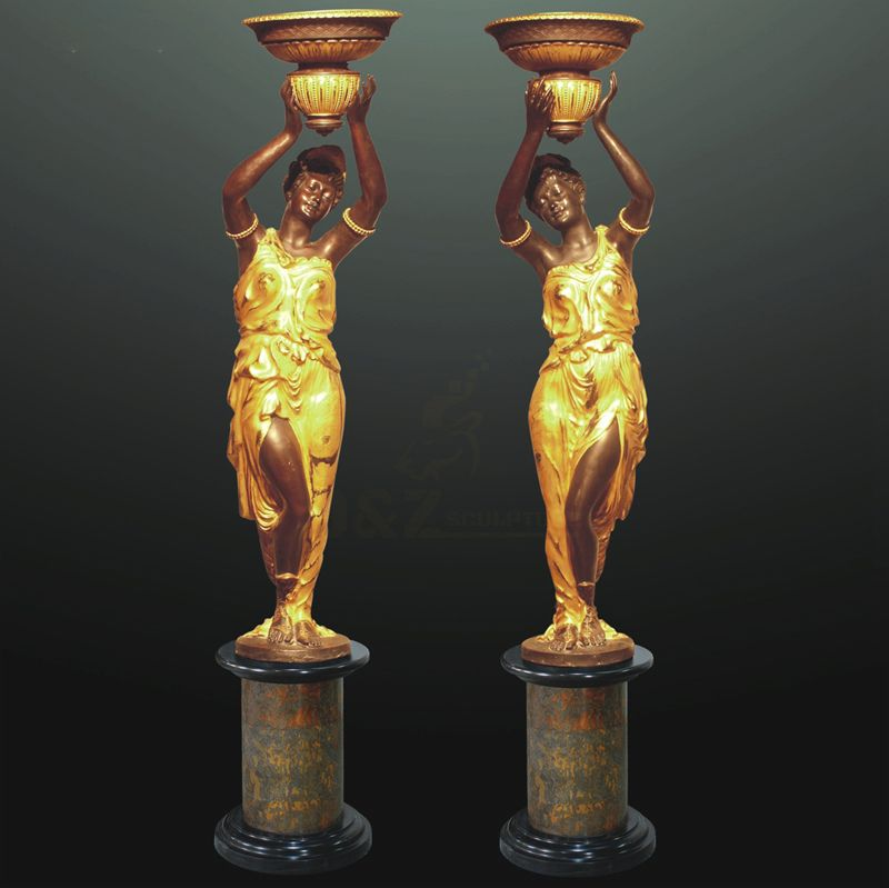 Garden decorative bronze lady lamp sculpture