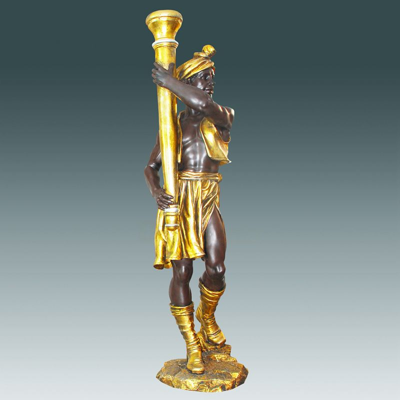 Popular Design Classic Man Brass Antique Statue Lamp For Home Decor