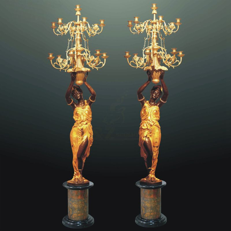 Chinese Factory Supply Park Decoration Quality Classical Design Bronze Lamp Statue
