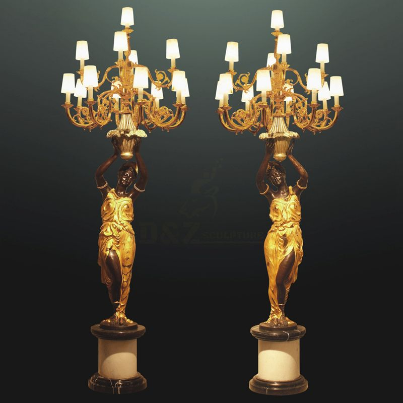 Factory Supply Decoration Bronze Figure Statue Floor Lamp Sculpture