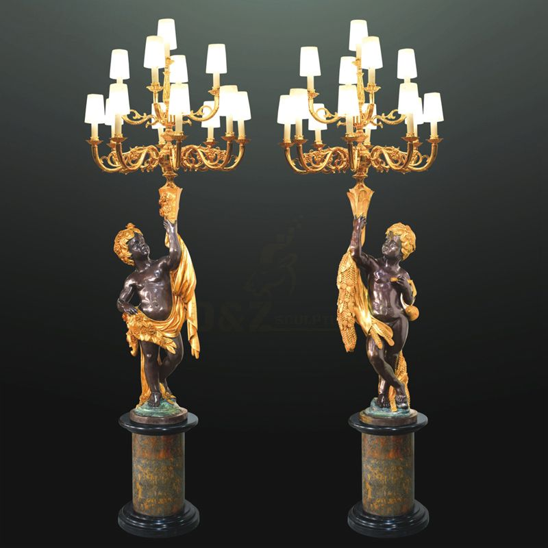 Large Famous Art Decoration Bronze Children Lamps Sculpture