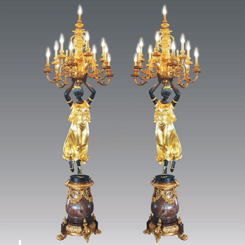 Modern Home Decoration Antique Brass Bronze Copper Statue Lamp