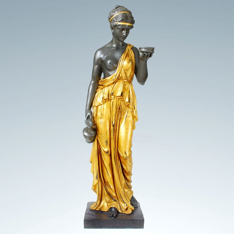 Garden Cast Bronze Lady Lamp Sculpture