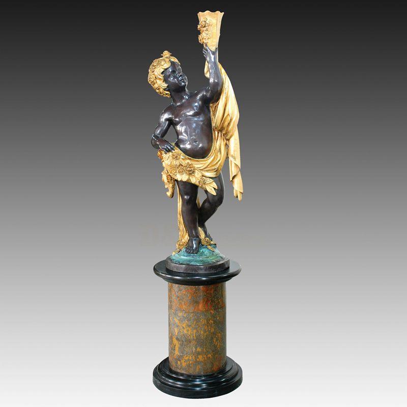 Garden Decorative Bronze Kids Metal Lamp Sculpture