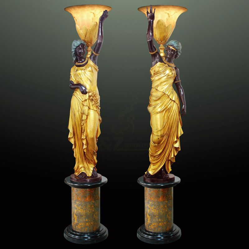 High Quality Bronze Lady Sculpture Lamps