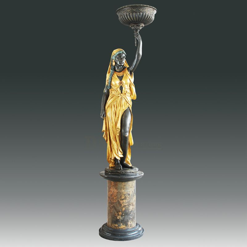 Indoor decoration casting bronze sculpture life size lady statue lamps