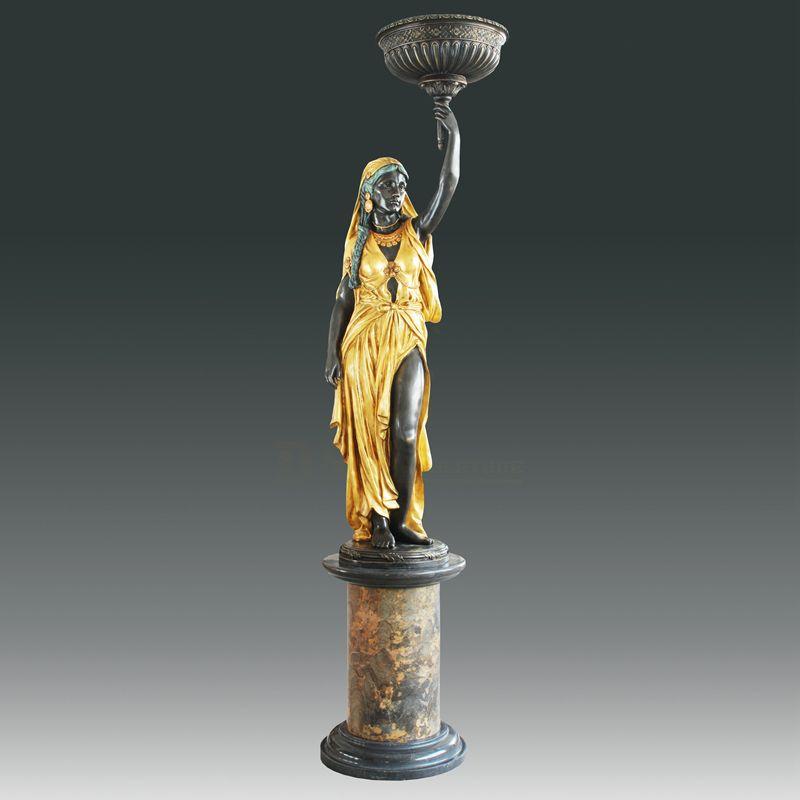 Indoor decoration casting bronze sculpture life size lady statue lamps