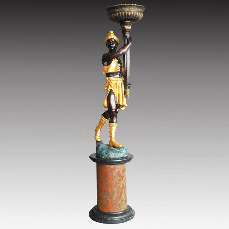 Antique Bronze Statue Lamps Brass Bronze Man Statue Lamp