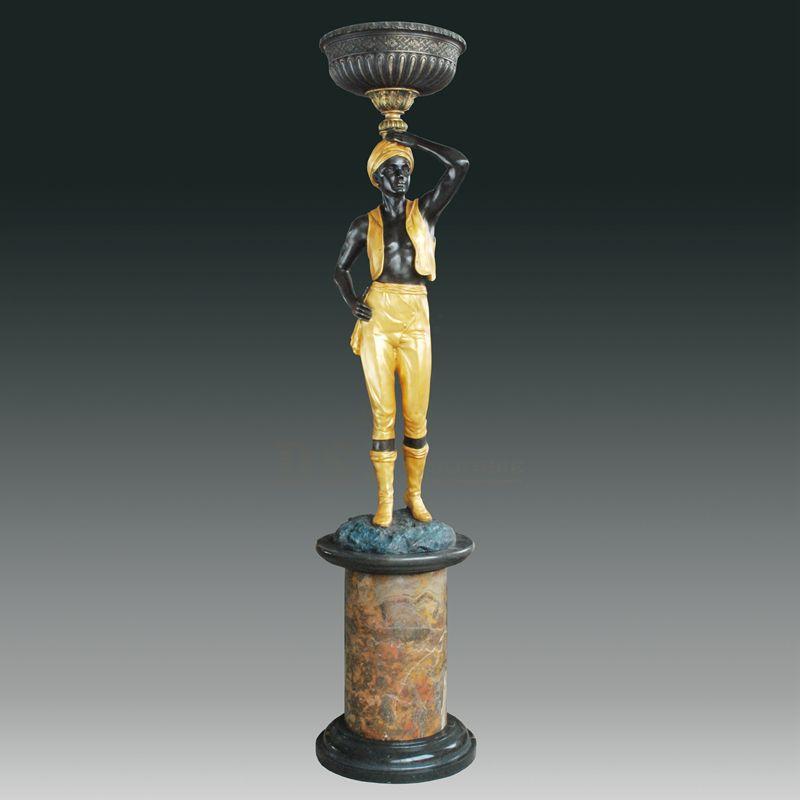 Home decoration large antique bronze lamp man statue