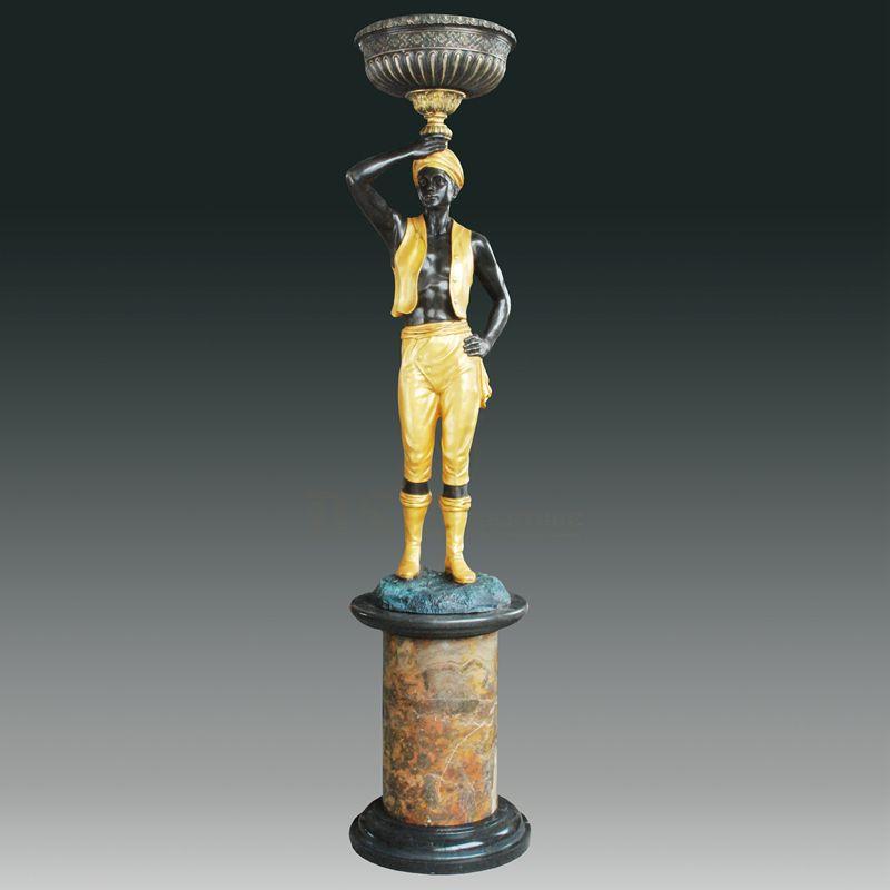 Life Size Garden Decor Metal Art Man Statue Bronze Sculpture Lamp