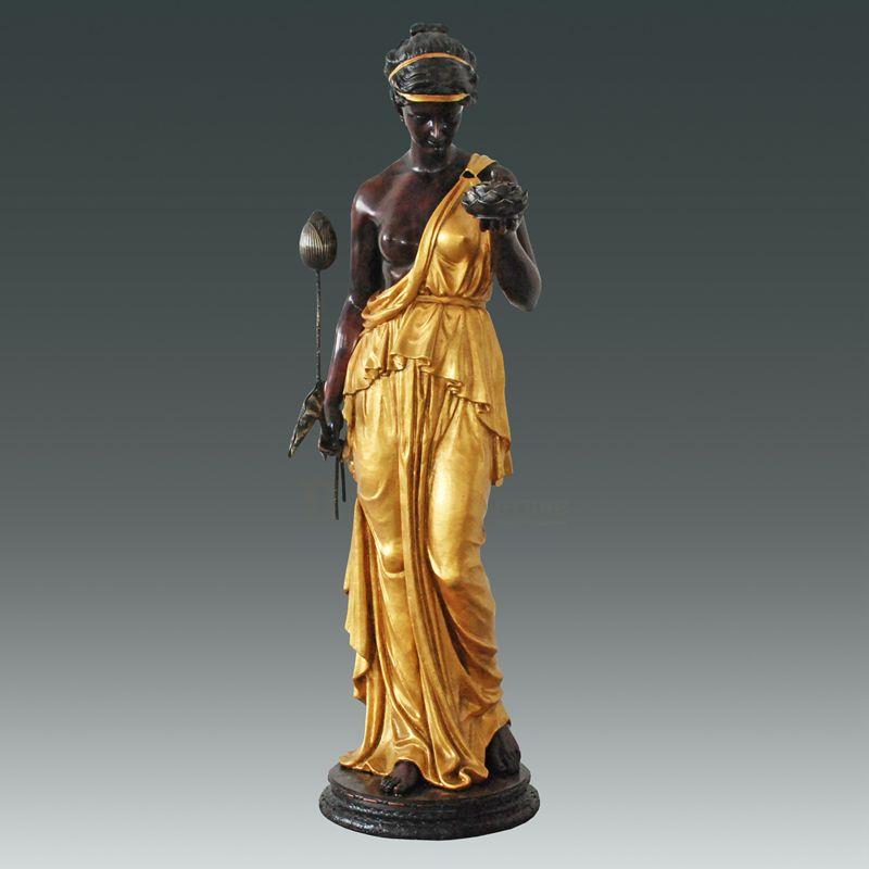 Chinese Manufacturer Outdoor Bronze Woman Sculpture Lamp
