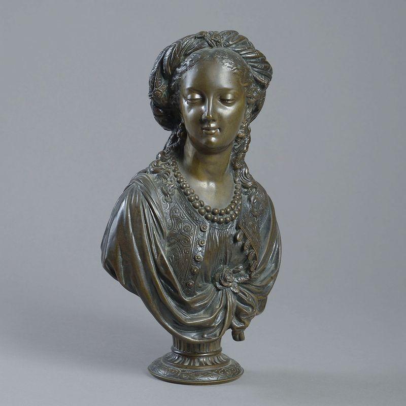 Beautiful Metal Bronze Woman Bust Sculpture