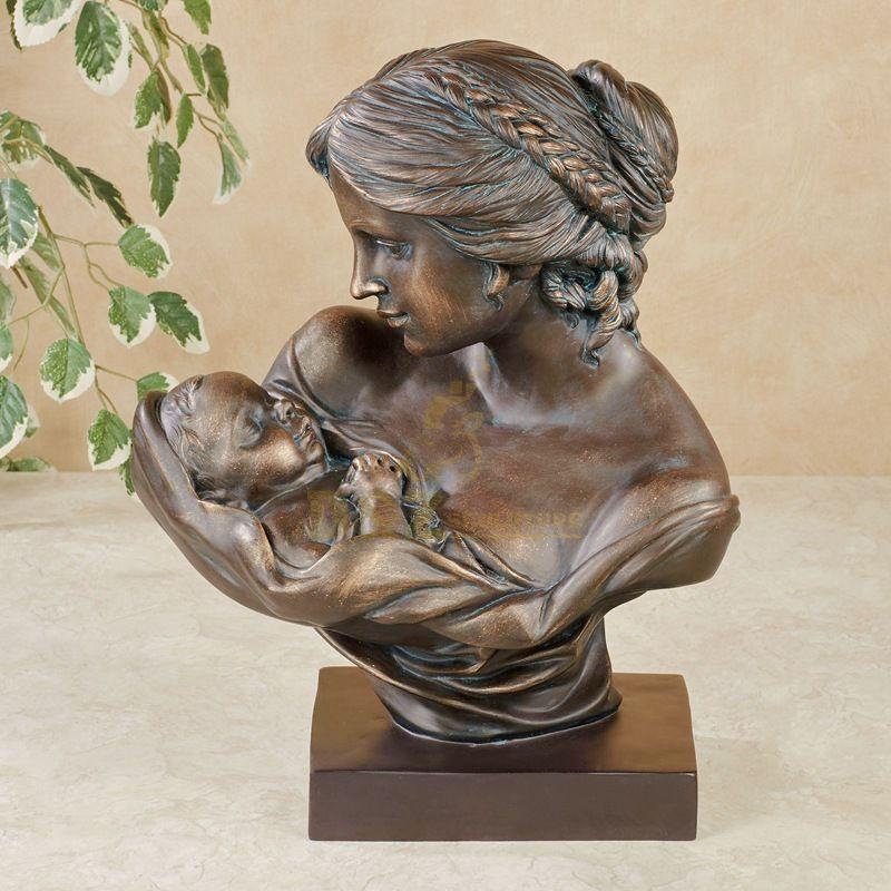 Home decoration mother and child desktop art bronze bust sculpture