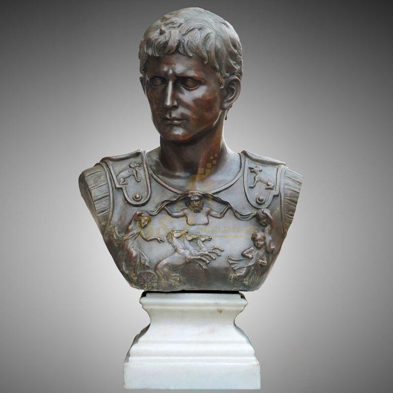Factory Custom Bronze Sculptrue Republic Bust Roman Emperor Julius Caesar Statue