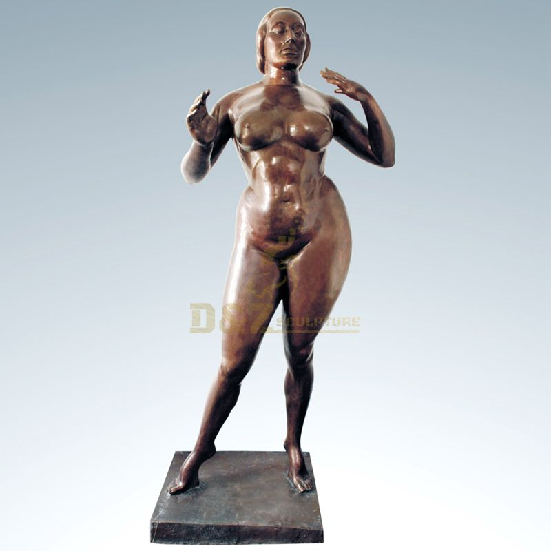 Bronze Abstract Nude Fat Woman Sculpture Statue