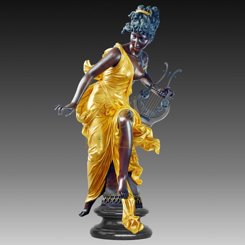 Life Size Colorful Woman Lady Bronze Sculpture