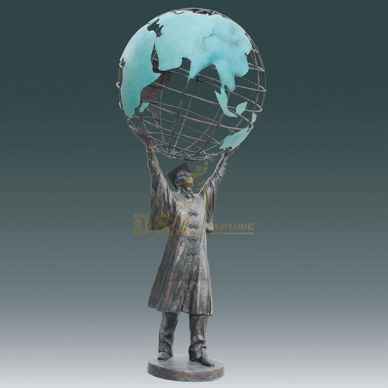 outdoor decoration famous art casting antique bronze Globe Statue