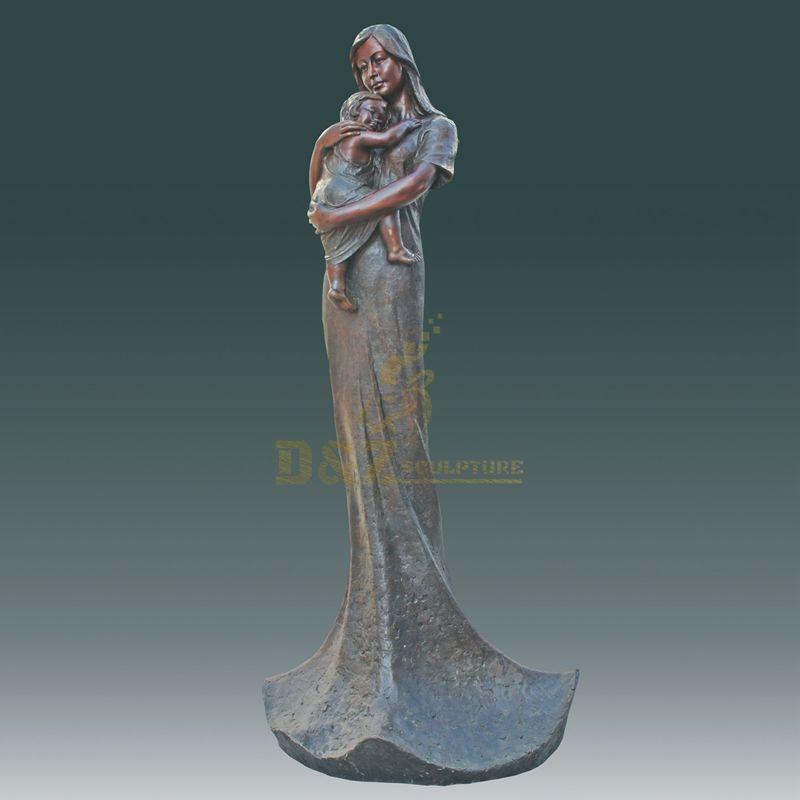 Art Bronze Women Metal Sculpture And Baby Statue