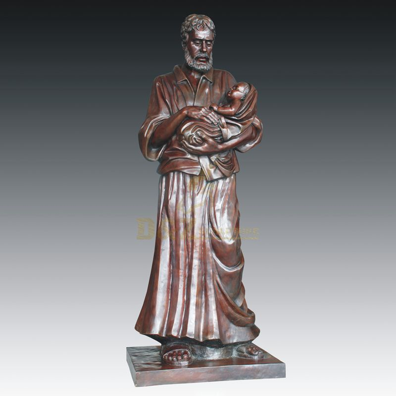 Outdoor Life Size Bronze Childern And Man Statue