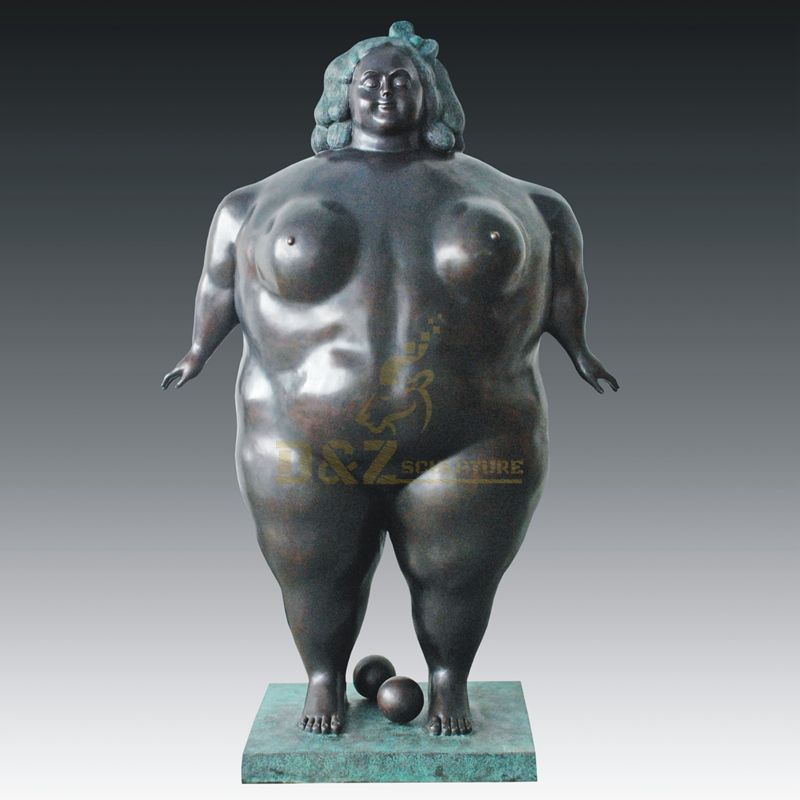 Modern Abstract Human Body Bronze Fat Woman Figurative Sculpture