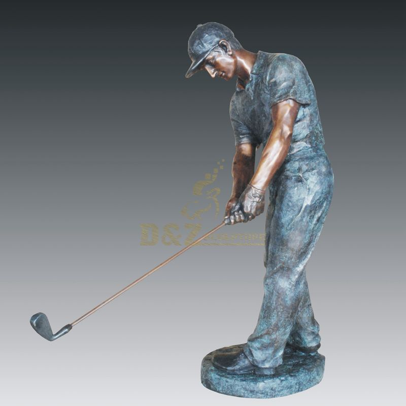 Metal Craft Bronze Man Playing Golf Figure Statue For Park Decoration