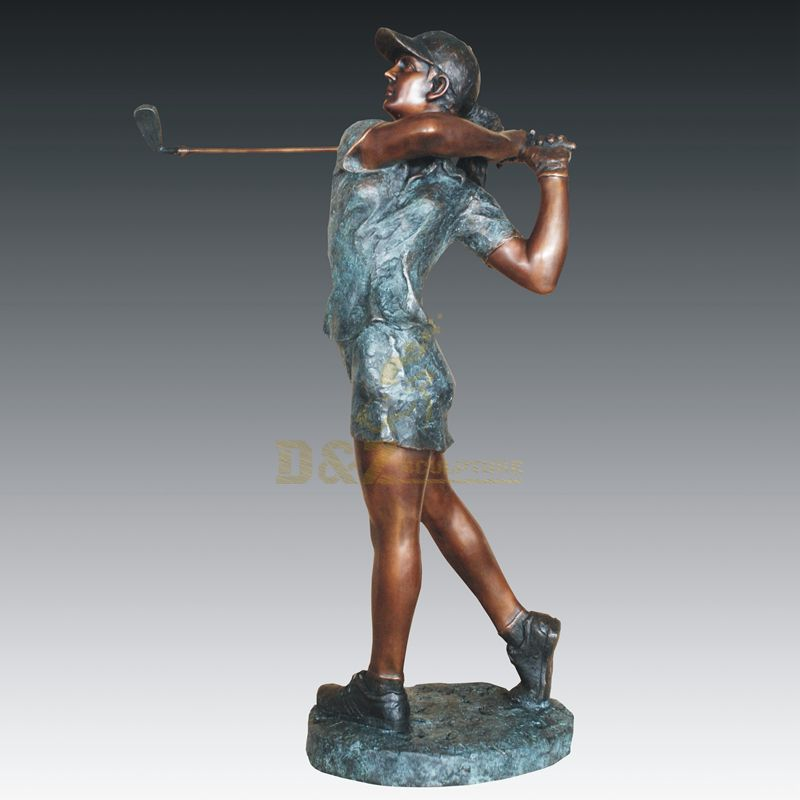 Outdoor abstract figure playing golf bronze sculpture