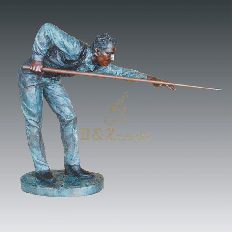 Hot Sale Figure Sculpture Billiards Man Cast Bronze Sculpture For Home Decoration