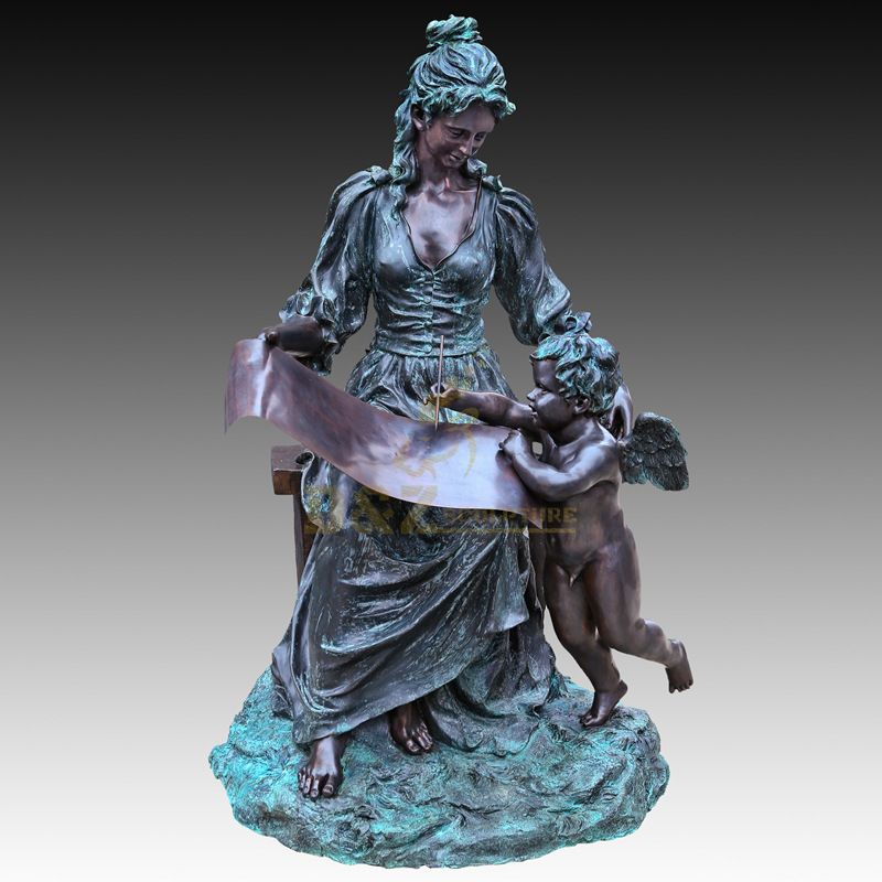 Life Size Bronze Girl Reading and Childern Statue of Garden