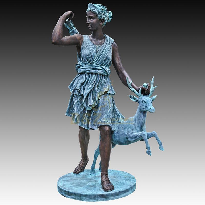 Custom Decorative Bronze Woman Statue Deer Sculpture