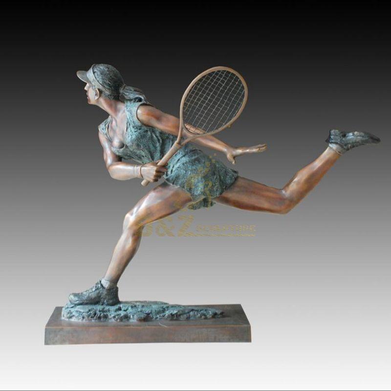 Bronze badminton player metal realistic character sculpture