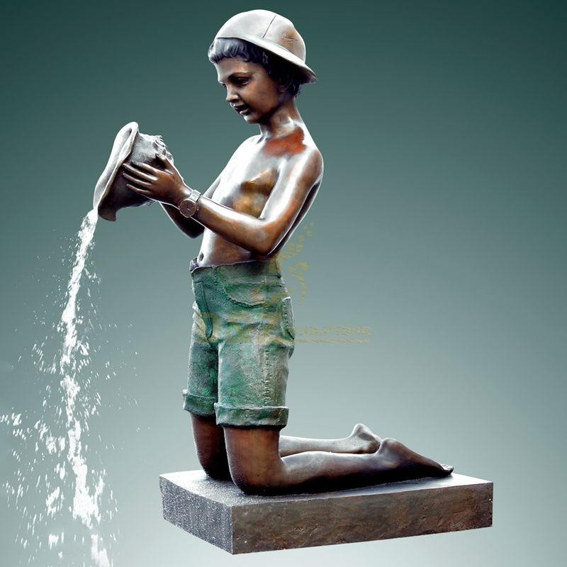 Outdoor garden large bronze boy water fountain sculpture