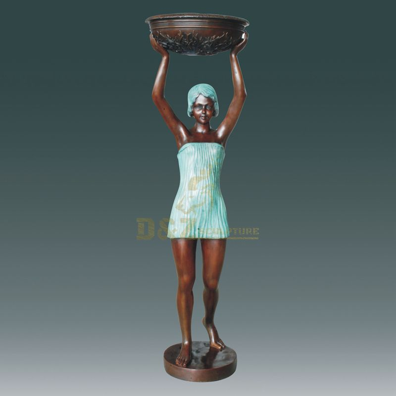 Hot Sale Decoration Outdoor Metal Bronze Sculpture Woman Statue Water Fountain