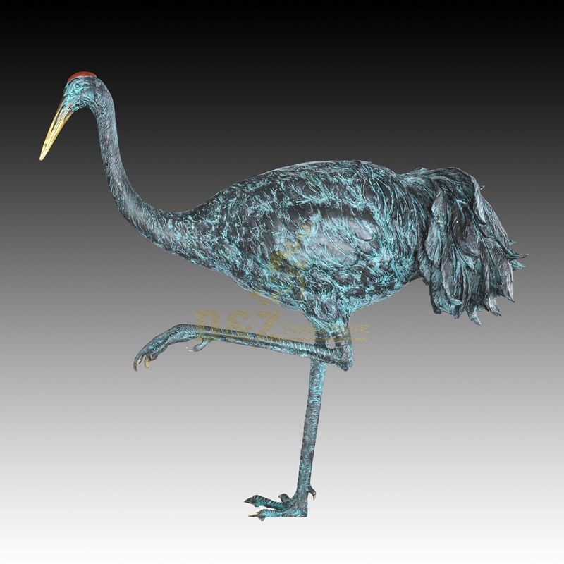 Outdoor Garden Decorative Ornament Animal Statue Bronze Crane Sculpture