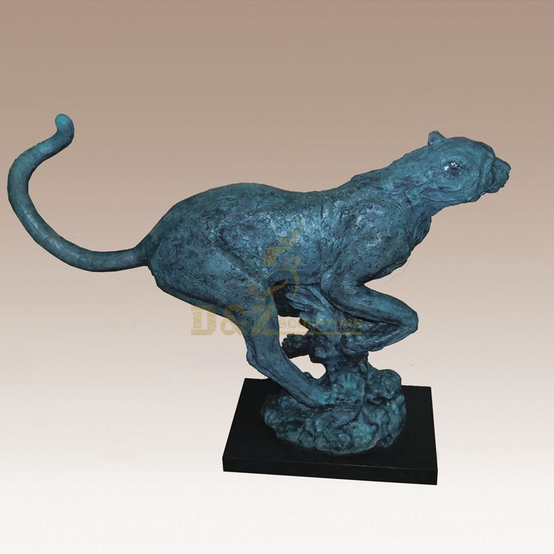 Art Sculpture Modern Animal Bronze Leopard Sculpture