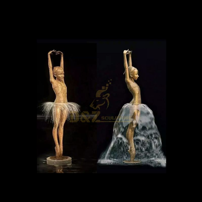 Beautiful Brass Bronze Ballet Girl Dancing Water Fountain