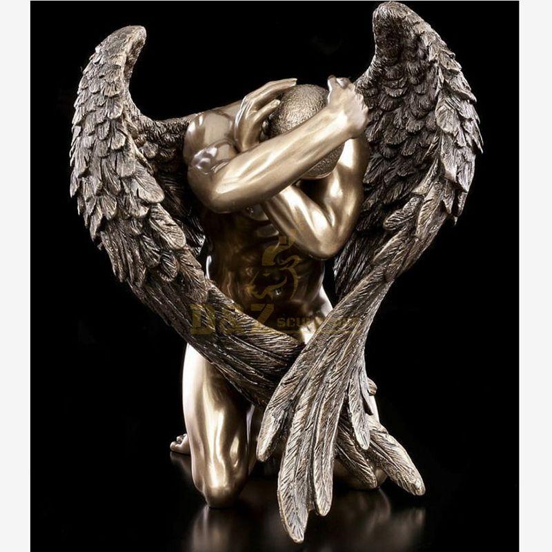 Art Foundry Metal Crafts Nude Man Bronze Wings Sculpture