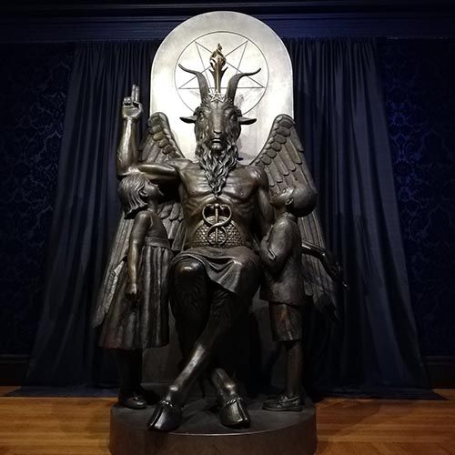 large size Roman religious mythological metal carved Satan statue fallen angel
