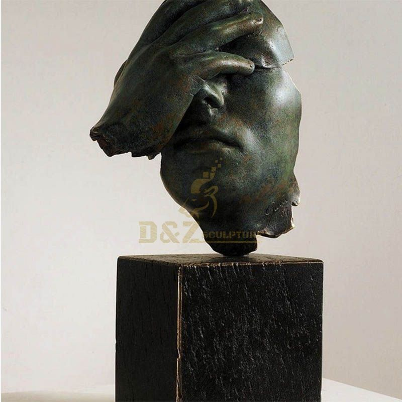 High quality home decor bronze abstract face sculpture