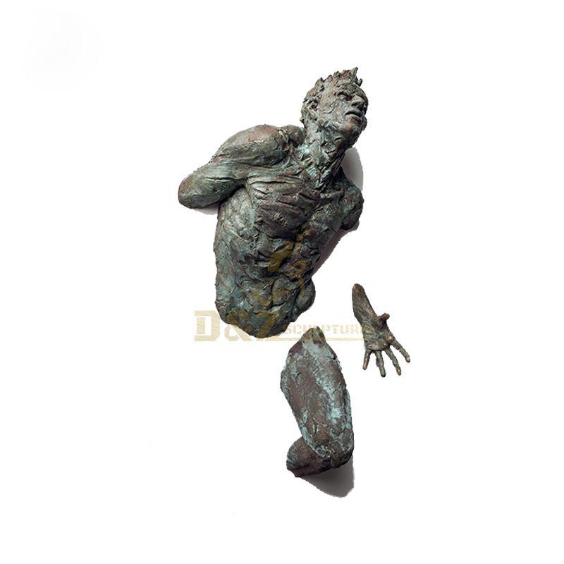 Abstract art bronze man sculpture for home wall