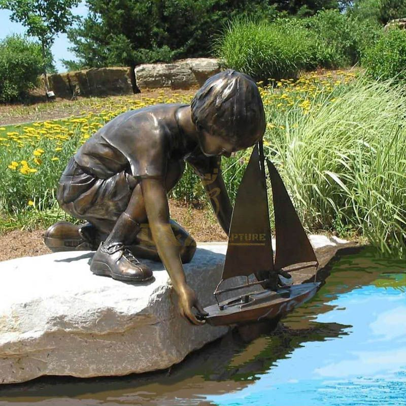 Life Size Cute For Boy With Boat Bronze Brass Sculpture