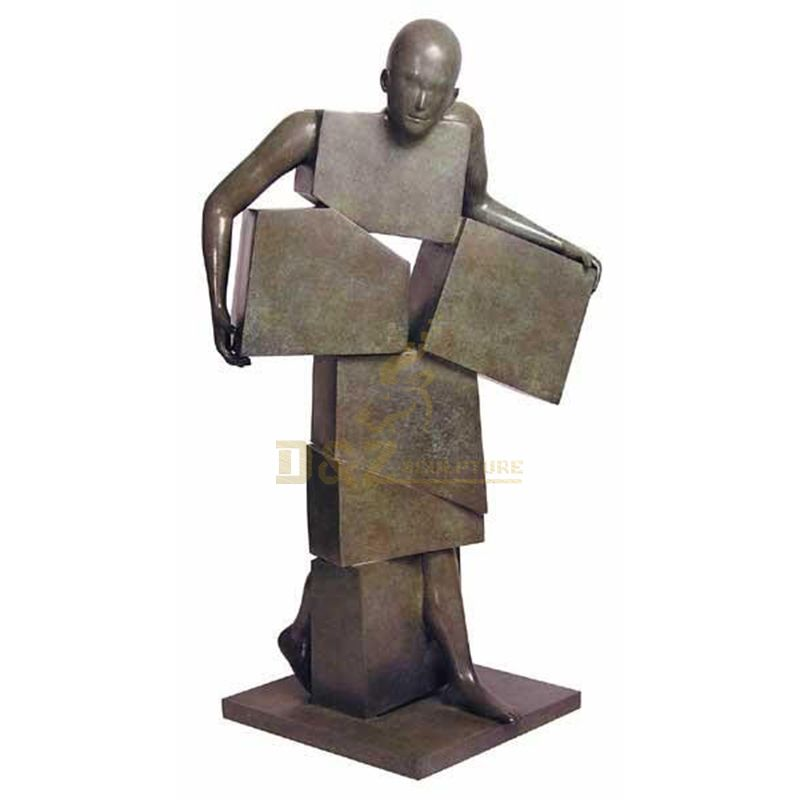 Abstract bronze naked male metal art sculpture