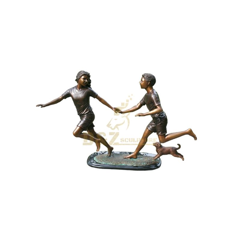Bronze Boy And Girl Garden Statues Decoration