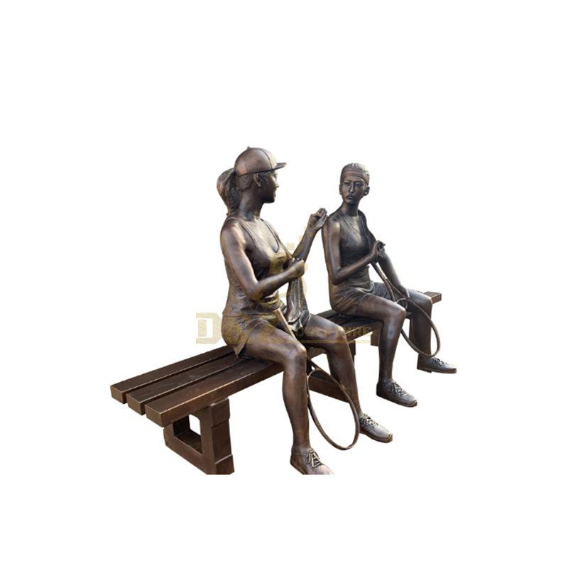Garden Life Size Bronze Figure Badminton Player Sculpture